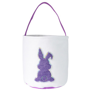 DHL Free Easter Egg Storage Basket Canvas Sequins Bunny Ear Bucket Creative Easter Gift Bag With Rabbit Tail Decoration 8 Styles ZZC4293