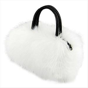 Lady Girl Pretty Cute Lovely Plush Fur Hairy Handbag Shoulder Bag Messenger Bag White Drop Shipping