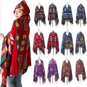 Women Bohemian Collar Plaid Hooded Blanket Caps Winter Outwear Shawl Scarf Grid Fringed Wraps Tartan Oversized Check Poncho Pashmina LSK2009