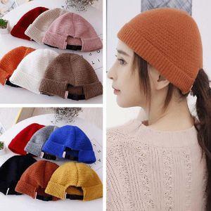 Knitted Woolen Hat Wild Japanese Korean Women's Simple Melon Leather Hat Trendy Men's Cap Autumn Winter Trendy Casual Cap