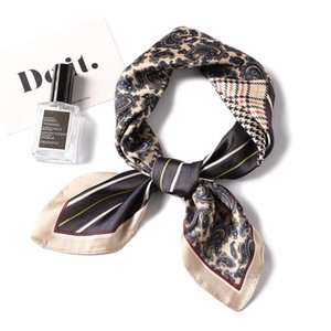 2020 New Silk Women Scarf Plaid Print Square Female Hair Neck Scarfs Foulard Head Bag Scarves Office Neckerchief