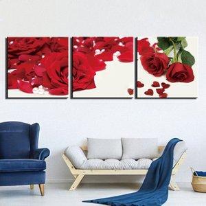 3 piezas de pared arte lienzo cartel e impresión lienzo pintura decorativa naturaleza muerta rojo rosa flor fotos para sala de estar decoración del hogar