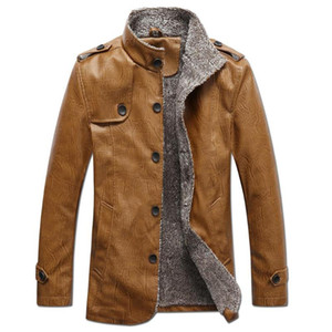 Yiwa Erkekler PU Yaka Sentetik Deri Ceket Iş Tarzı Slim Fit PU COAT Üst Kış Giyim Sıcak Kalın Faux Ceket Palto