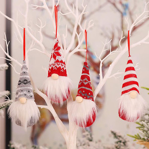 Handmade Christmas Gnomes Ornaments Plush Swedish Tomte Santa Figurine Scandinavian Elf Christmas Tree Pendant Decoration Home Decor BWF2196