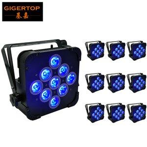 10pcs / lotto 9X15W 5IN1 Wireless RGBWA piana del LED Par luci Supporto remoto DMX 5 / 9Chs wireless piatto Led Par Cans led nero Housing Tyanshine
