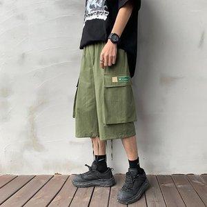 2020 남자 ins 한국식화물 반바지 여름 검은 주머니 다기능 자른 바지 Streetwear Sweatshorts 3XL1