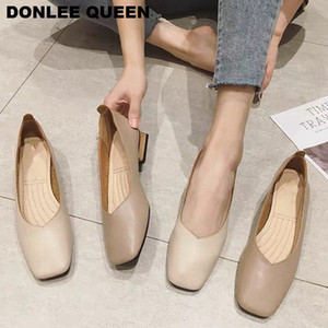 New Spring Flats Shoes Women Wooden Low Heel Ballet Square Toe Shallow Brand Shoe Slip On Loafer zapatos de mujer big size 35-41 C1011