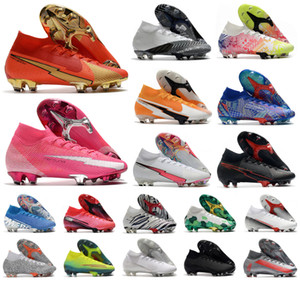 Hot 2021 Superfly VII 7 360 Elite SE FG CR100 Rosa Pantera Cr7 Ronaldo Neymar Men Boys Sapatos de futebol Botas de futebol Cleats US3-11