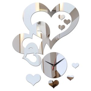 Fashion Design Love Hearts Decor Quartz Wall Watches Mirror Acrylic Material Wall Sticker Diy Wall Clocks For Living Room Mirror Clock