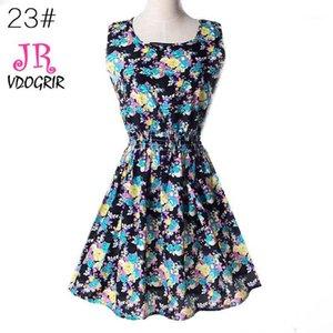 VDOGRIR Vintage estampado azul flor en línea para mujeres mini vestido de verano1