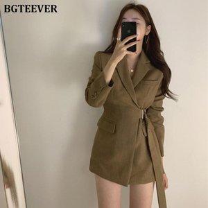 Stylish Sashes Slim Waist Women Blazer Jackets Vintage Female Suit Coat Office Ladies Feminino Blazers Outerwear 2020