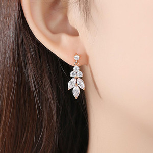 Pave Einstellung Mode Zirkonia Ohrringe Brautkristallohrring AAA-Grad-CZ-Ohrring Hochzeit baumeln Frauen-Ohrring