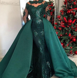 Mermaid Dark Green Evening Dresses Wear Jewel Neck Illusion Sequins Lace Beads Long Sleeves Overskirts Detachable Train Party Prom Gowns