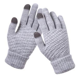 Winter Touch Screen Gloves Women Men Warm Elastic Knit Mittens Wool Full Finger Crochet Gloves Gift HHA1654