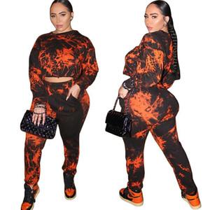 Women 2 Piece Pants Set Fashion Tie Dyed Long Sleeve O Neck Sweatshirt 2 Piece Set Women Designers Clothes