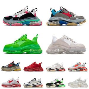 2021 Triple S Mode Semelle Transparente Bas Paris 17FW Hommes Designer Sneakers Vintage Papa Plate-Forme Femmes De Luxe Casual Chaussures De Sport Baskets