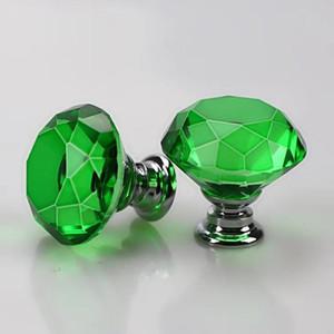 30mm Diamond Crystal Glass Door Knob Wardrobe Drawer Cabinet Furniture Pull Door Handle Knobs With Screw Furniture Accessories DBC VT1216