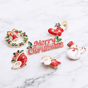 Frohe Weihnachten Broschen Weihnachtssocken Weihnachtsbaum Elk Emaille Abzeichen Kleine Brosche Frauen Mode Partei Schmuck-Geschenke 5,0