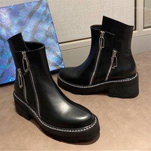 Мода Двойная молния Женщины Bootskle Boots Дамы Коренальный каблук Платформа с короткими пинетками Натуральная Кожа Осенняя Обувь Женщина Botas1