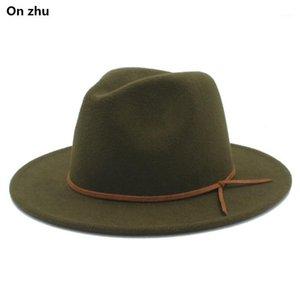 100% Yün Kadın Erkek Outback Fedora Şapka ile Geniş Brimy Cloche Caz Godfather Cap Szie 56-58 cm1