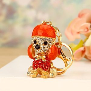 Key Chains Crown Poodle Dog Rhinestone Crystal Key Ring Chains Holder Bag Buckle Pendant For Car Keyrings jewelry1