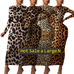 col rond automne hiver de femme longue robe imprimé léopard de mode manches-2XL