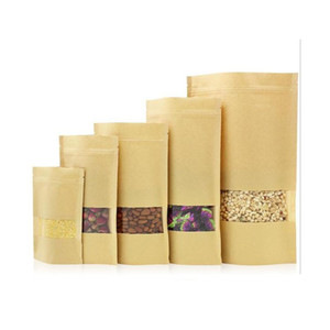100pcs food moisture-proof bags,window bags brown kraft paper doypack pouch packaging for snack,cookies c523 7OxFW