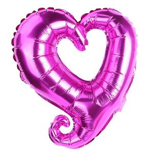 18 polegadas gancho forma coração alumínio folha balões festa de casamento decoração dia dos namorados dia dos namorados festa de bebê balões de ar DHF3912