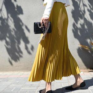 [LANMREM] 2020 tide New autumn High Elastic Waist Black Half-body Skirt for Women Fashion Tide folded bottoms PC414