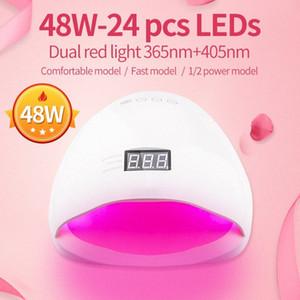 El clavo rojo luz de gel UV LED lámpara de 48W uñas con manicura Herramientas del arte del sensor de silicona 30s / 60s inferior temporizador 48 vatios SIMINAIL BZPy #