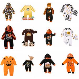 هالوين ملابس الطفل السروال القصير اليقطين إلكتروني الفتيات رومبير قبعة طويلة الأكمام الرضع صبي حللا بوتيك ملابس الطفل 12styles FFA4473