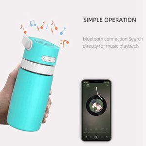 Интеллектуальная музыка Bluetooth бутылки воды 350мл спикер нержавеющей стали кубок Термос Термос бутылки воды кофейная чашка моря Доставка DDA784
