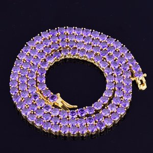 Iced Out Diamond Necklace Luxury Designer Hip Hop Bling Chains Jewelry Men Purple Tennis Chain Rapper Fashion Hiphop Gold Silver Accessories
