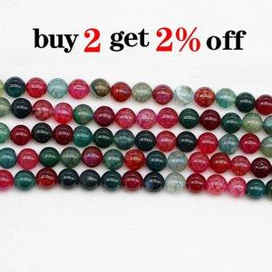 1trand lot pierre naturelle tourmaline Agate Bead Round Gem perles d'espacement en liberté pour bijoux Faire des résultats Bracelet bricolage en gros H Jllvzo