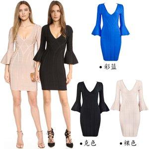 2021 Son Tasarımcı HL Uzun Kollu V Yaka Kış Sonbahar Man-Yapımı İpek Elbiseler Vücut Heykel Akşam elbise Zarif Örgün Parti Nedime Kostümleri H1075