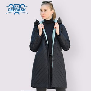 CEPRASK Designer Spring Autumn Collection Women Jacket Thin Parka Long Plus Size 6XL New European Women Coat Warm Clothes 201016