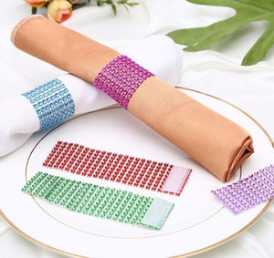 Rhineston Napkin Rings Plastic Napkin Buckle Mesh Wrap Napkin Ring Serviette Holder Hotel Wedding Accessory Table Decoration A2172