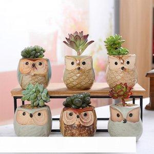 6pcs Ceramic Owl Flower Pots Planters Flowing Glaze Base Serial Set Ceramic Planter Desk Flower Pot Cute Design Succulent Plante CJ191226