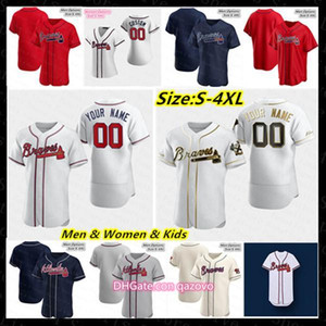 Men 2020 Baseball Jersey Ronald Acuna Jr Atlanta Freddie Freeman Ozzie Albies Josh Donaldson Chipper Jones Hank Aaron Foltynewicz Mike Sorok