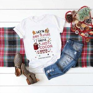 Deixe cozer coisas beber cacau quente e assistir Christmas filme camiseta mulheres moda gráfico bonito tee estética kawaii camisa