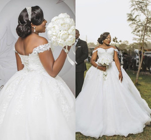 2021 Plus Size Wedding Dresses with Lace Applique Off the Shoulder Beaded Crystals Tulle Custom Made African Country Wedding Gown vestidos