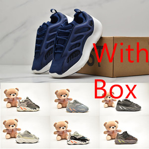 With Box New kanye 700 Phosphor Kids Boy Running Shoes Vanta Azael Alvah Black White Sneakers 700s V2 Hospital Blue Inertia Static Trainer