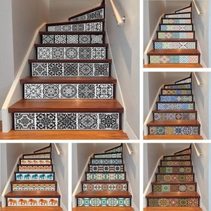 yazi 6PCS Removable Step Self-Adhesive Stairs Sticker Ceramic Tiles PVC Stair Wallpaper Decal Vinyl Stairway Decor 18x100CM 1007