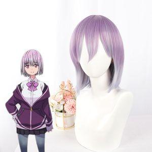 Anime SSSS.GRIDMAN Shinjo Akane Cosplay Wigs Women Long Straight Purple Wig Akane Shinjo Halloween Cosplay Hair+Wig Cap
