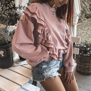 Simplee Drop-shoulder sleeve ruffled sweatshirt women Casual loose pink pullover autumn Short crewneck pullover for female 201007