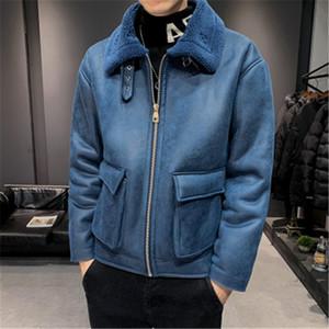 Man Lamb Wolle Jacke Fashion Trend Langarm-Cardigan Zipper Fleece Oberbekleidung Designer Male Winter New verdicken beiläufige dünne Suede Coats