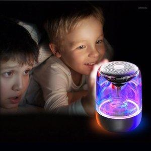 C7 Transparente Cristal Bluetooth Altavoz LED Colorido Atmósfera Luz HiFi Estéreo Altavoz Bluetooth TWS con MIC1