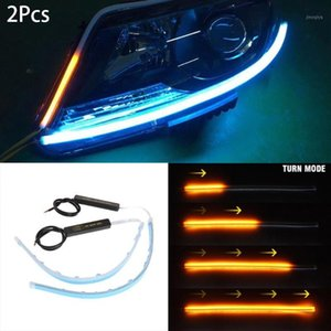 2pcs 30 45 60mm Ultra Thin Double Color Car Soft Tube LED Strip DRL Flowing Turn Signal Lamp Daytime Running Strip1