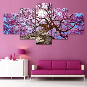 Modern Home Wall Art Decor Framework Pictures 5 Pieces Beautiful Pink Cherry Tree Landscape HD Printed Painting On Canvas Poster