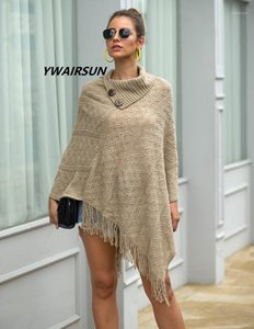 Ywairsun Fringed Cloak Botão do xale feminino Meio colarinho aberto Pullover Diamante Checkered Senhoras Sweater Poncho Mujer1
